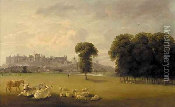Windsor Castle from the Thames Oil Painting - Edmund Bristow