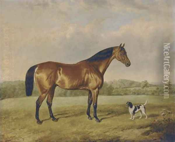A bay hunter with a terrier in an extensive landscape Oil Painting - Edmund Bristow