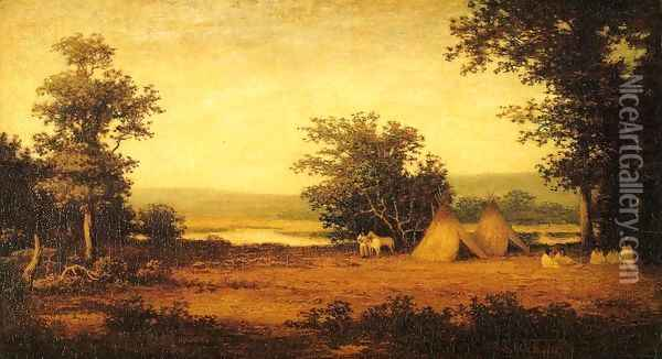 Indian Encampment on the James River, North Dakota Oil Painting - Ralph Albert Blakelock