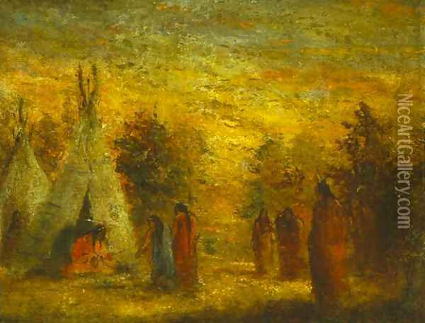 An Indian Encampment Oil Painting - Ralph Albert Blakelock