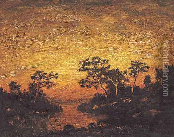 Sunset on a Lake Oil Painting - Ralph Albert Blakelock