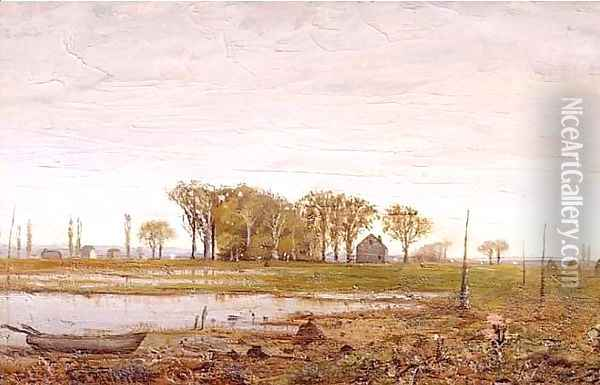 Landscape with Houses and Boat Oil Painting - Ralph Albert Blakelock