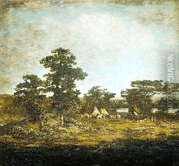 An Indian Encampment 1880 Oil Painting - Ralph Albert Blakelock
