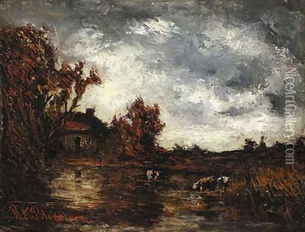 View of a Cottage with Cows Watering Oil Painting - Ralph Albert Blakelock