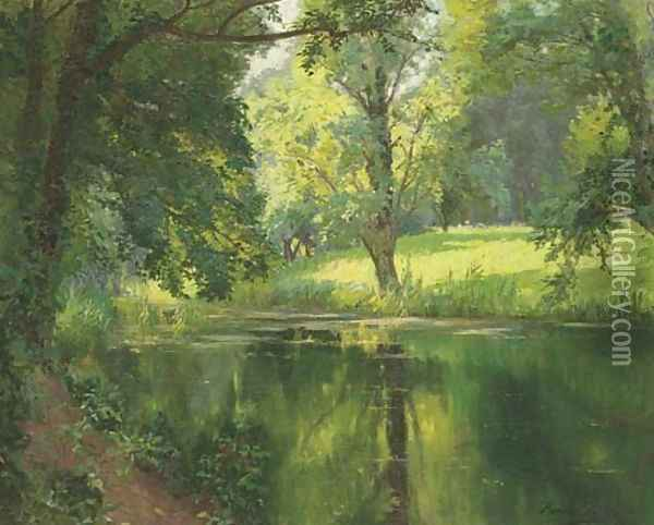 A quiet stretch of the river Oil Painting - Henri Biva