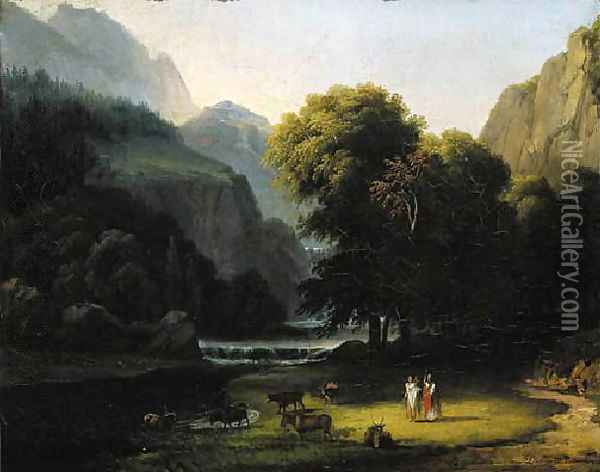 A wooded river landscape with Apollo and Mercury Oil Painting - Antoine-Felix Boisselier