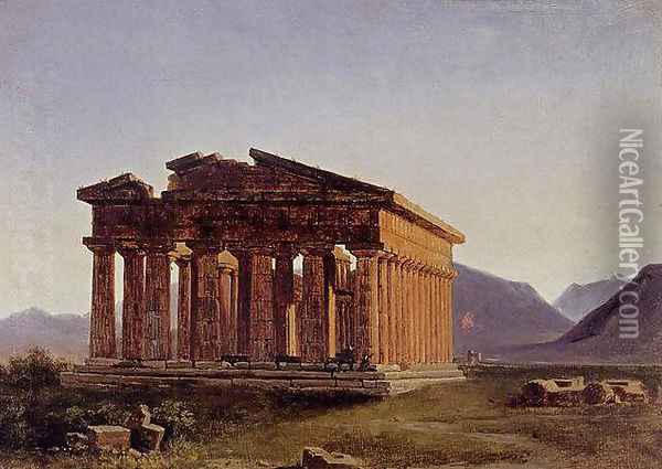 A view of the Temple of Neptune at Paestum Oil Painting - Antoine-Felix Boisselier