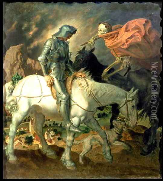 Don Quixote with Death, based on 'The Knight, Death and the Devil' by Albrecht Durer Oil Painting - Theodor Baierl