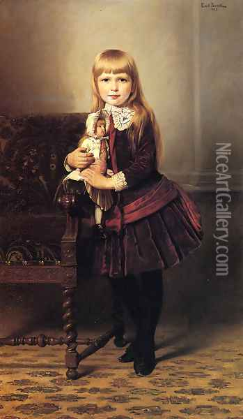 Portrait of a Young Girl Holding a Doll Oil Painting - Emil Brack