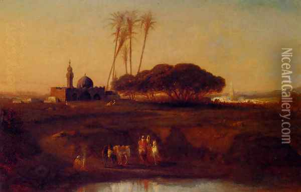 Arabs At An Oasis At Dusk Oil Painting - Narcisse Berchere