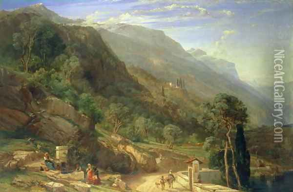 Olive Groves at Varenna, Lake Como, Italy 1861 Oil Painting - Frederick Lee Bridell