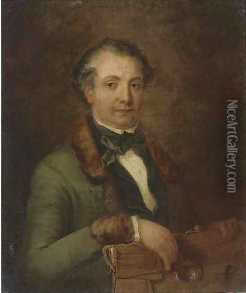 Portrait of a gentleman, traditionally identified as a member of the Holden family, half-length, holding an unframed canvas and quizzing glass Oil Painting - Frederick Lee Bridell