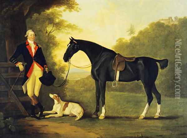 Officer of the Royal Horse Guards With His Charger and Dog, 1776 Oil Painting - John Best