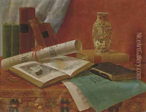 Still Life with Books and Newspaper Oil Painting - Nicholas Alden Brooks