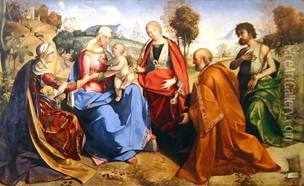 The Marriage of St. Catherine, with St. Rosa, St. Peter and St. John the Baptist, 1506 Oil Painting - Boccaccio Boccaccino