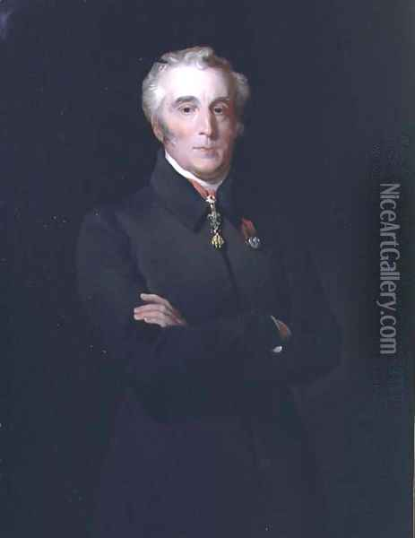 Portrait of Arthur Wellesley, 1st Duke of Wellington (1769-1852) wearing the Order of the Golden Fleece Oil Painting - Henry Perronet Briggs
