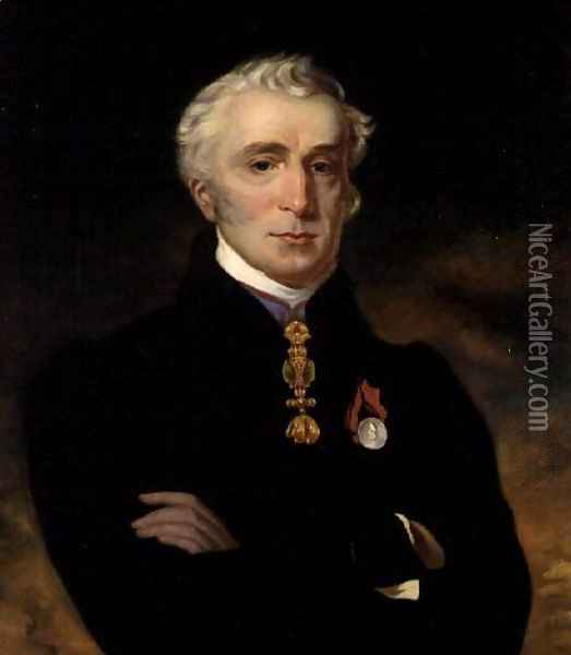 Portrait of the Duke of Wellington (1769-1852) wearing the Order of the Golden Fleece, 1837 Oil Painting - Henry Perronet Briggs