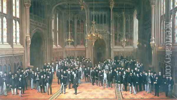 Members' Lobby, Houses of Parliament 1872-73 Oil Painting - Henry Barraud