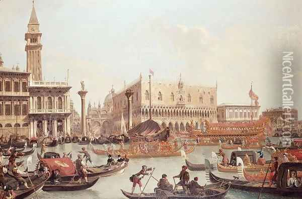 View of the Doge's Palace and the Piazzetta, Venice Oil Painting - Giuseppe Bernardino Bison