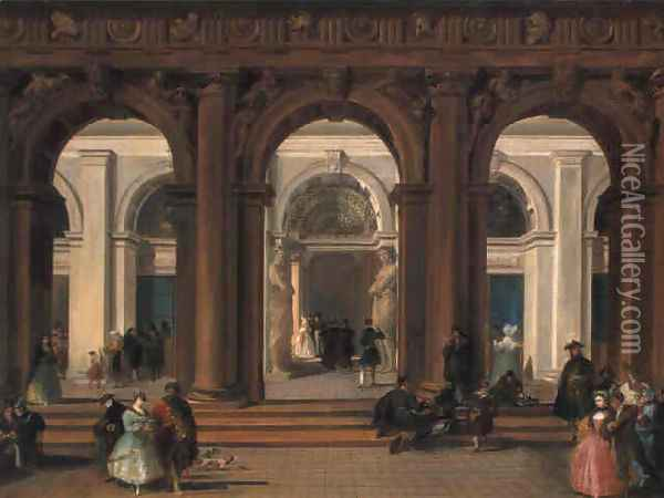 The entrance to the Biblioteca Marciana, Venice Oil Painting - Giuseppe Bernardino Bison