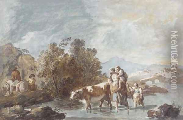 A family crossing a stream with a cow Oil Painting - Giuseppe Bernardino Bison