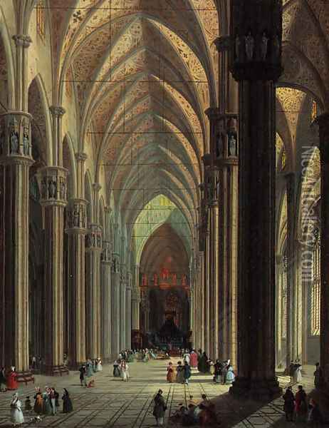 The nave of the Duomo, Milan, looking east Oil Painting - Giuseppe Bernardino Bison
