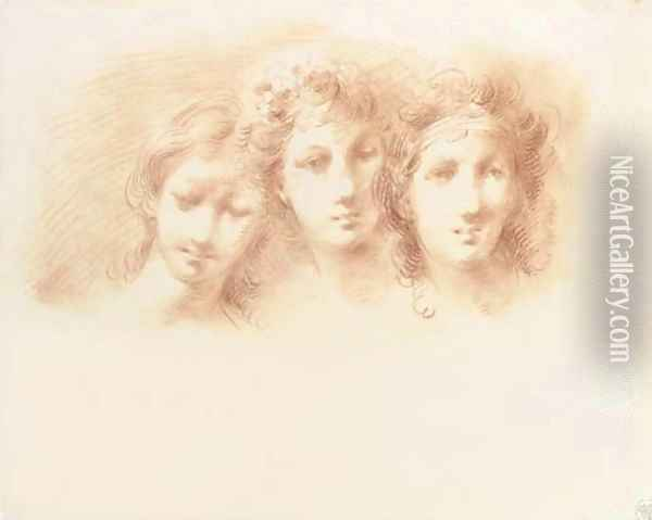 Three female heads, perhaps for the Three Graces Oil Painting - Giuseppe Bernardino Bison