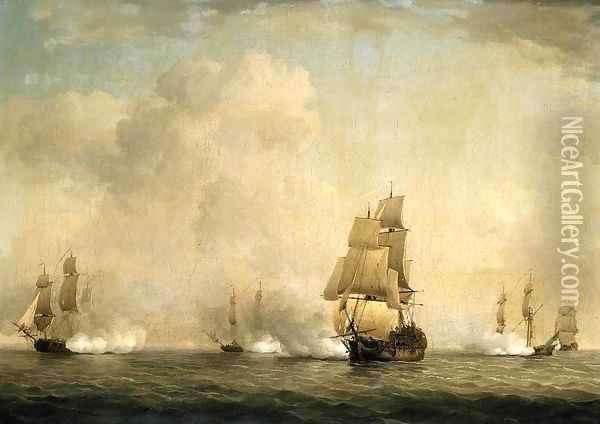 The Capture of a French Ship by Royal Family Privateers Oil Painting - Charles Brooking