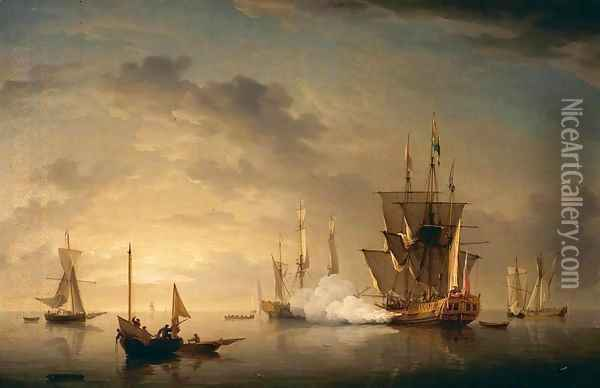 A Royal Yacht Firing a Salute Oil Painting - Charles Brooking