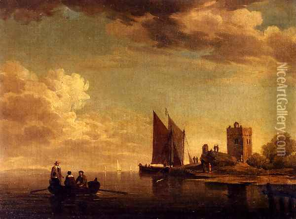 Two Views Of Blankenburg Castle Off The Coast Of Flanders (Pic 1) Oil Painting - Charles Brooking