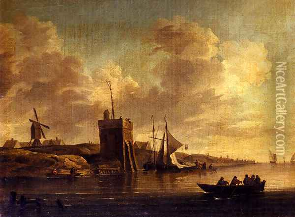 Two Views Of Blankenburg Castle Off The Coast Of Flanders (Pic 2) Oil Painting - Charles Brooking