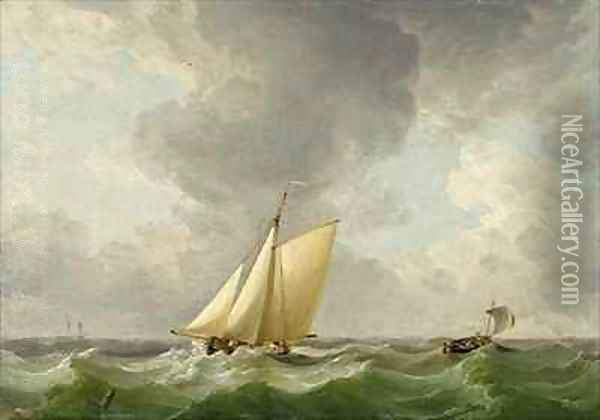 A Cutter in a Strong Breeze Oil Painting - Charles Brooking