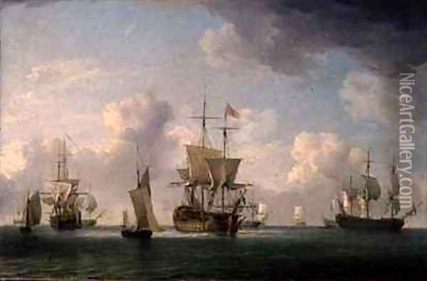 English Ships Under Sail in a Very Light Breeze Oil Painting - Charles Brooking