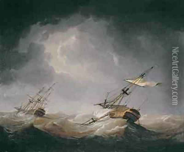 Dismasted Oil Painting - Charles Brooking