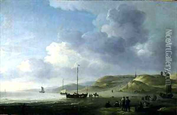 The Coast Near Scheveningen with Fishing Pinks on the Shore Oil Painting - Charles Brooking