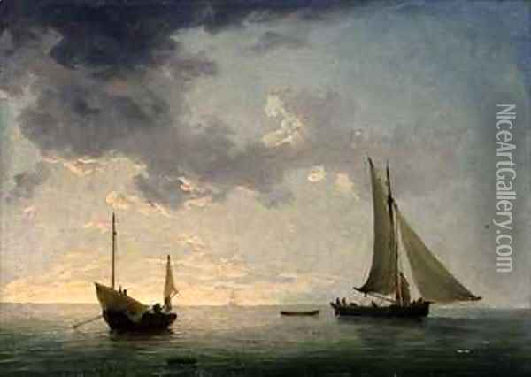 A Lugger and a Smack in Light Airs Oil Painting - Charles Brooking