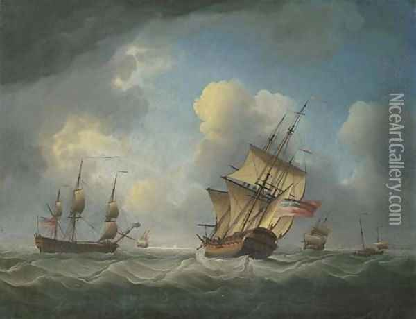 A Royal Naval squadron of the Red offshore in a heavy swell Oil Painting - Charles Brooking