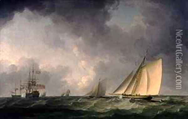 Cutter Close Hauled in a Fresh Breeze, with Other Shipping Oil Painting - Charles Brooking