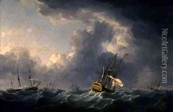 English Ships Running Before a Gale Oil Painting - Charles Brooking