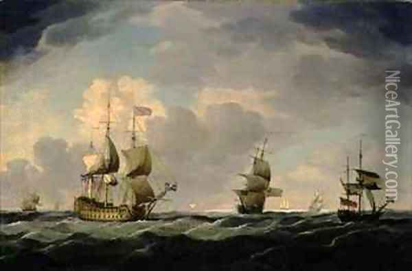 An English Flagship Under Easy Sail in a Moderate Breeze Oil Painting - Charles Brooking