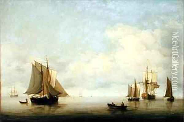 Seascape with Shipping Oil Painting - Charles Brooking