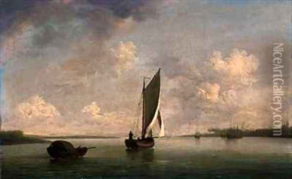 A Smack Under Sail in a Light Breeze in a River Oil Painting - Charles Brooking