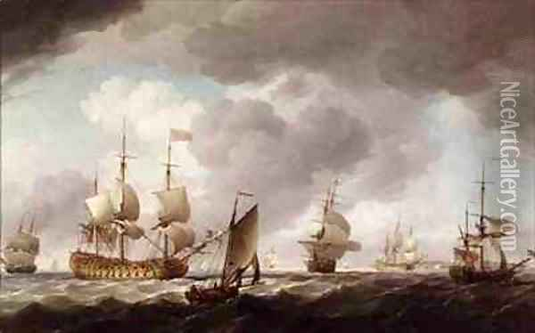 An English Vice-Admiral of the Red and his Squadron at Sea Oil Painting - Charles Brooking