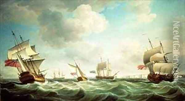 East Indiamen and a smack-rigged Royal Yacht in a breeze off the Downs Oil Painting - Charles Brooking