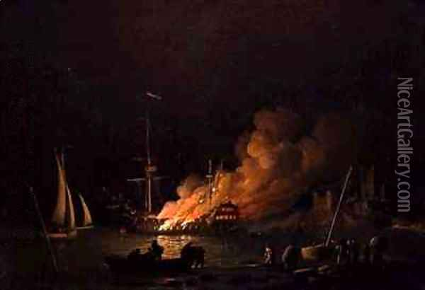 Ship on Fire at Night Oil Painting - Charles Brooking