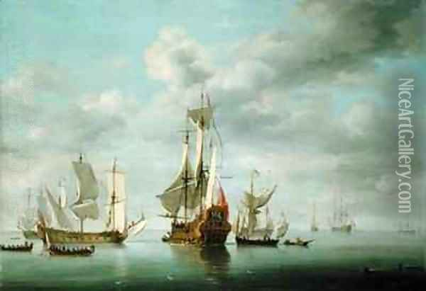 Warships Becalmed Oil Painting - Charles Brooking