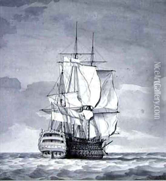 English Line-of-Battle Ship Oil Painting - Charles Brooking