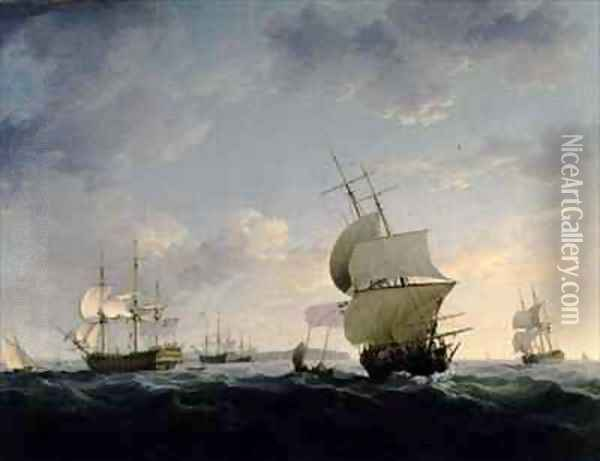 Shipping in the English Channel Oil Painting - Charles Brooking