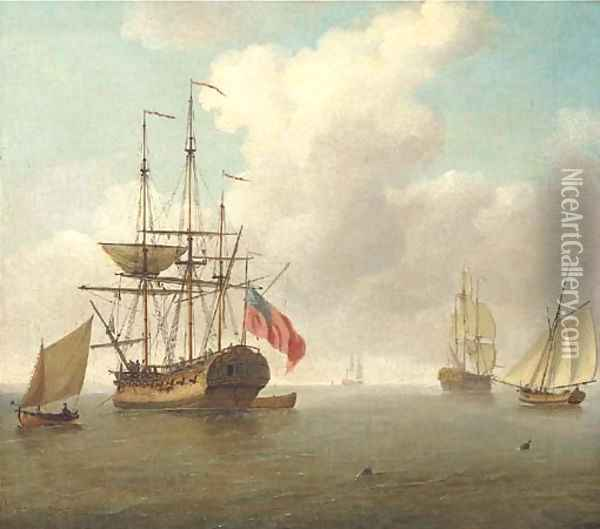 A small man-'o'-war at anchor with cutters under sail Oil Painting - Charles Brooking