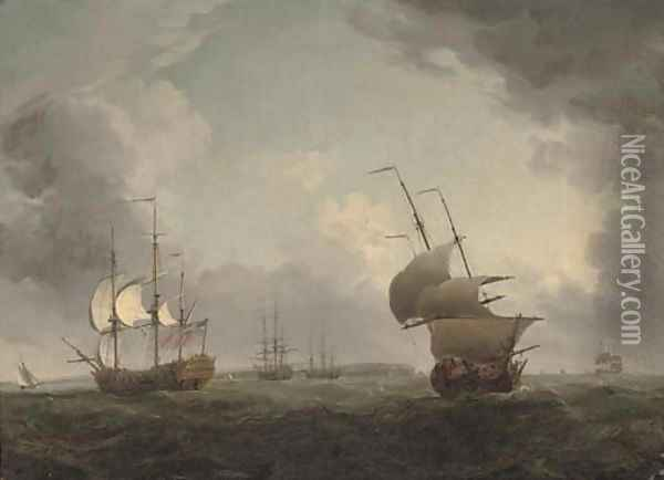 Men-o'war off the Isle of Wight Oil Painting - Charles Brooking
